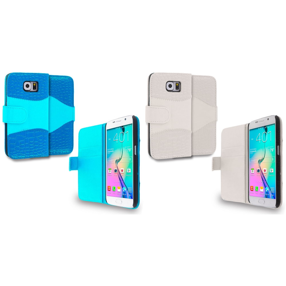 Samsung Galaxy S6 Combo Pack : Baby Blue Crocodile Leather Wallet Pouch Case Cover with Slots