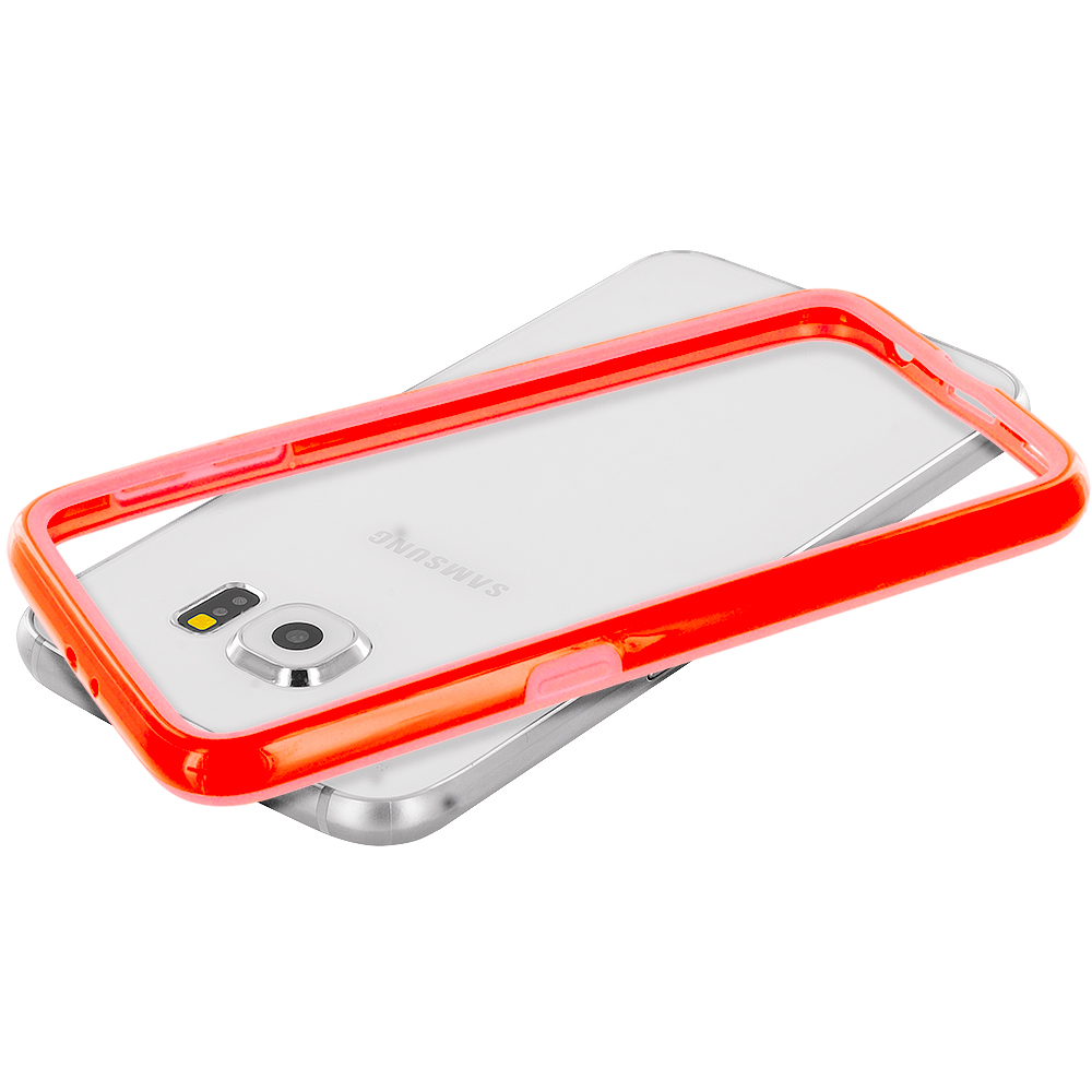 Samsung Galaxy S6 Combo Pack : Red TPU Bumper Frame Case Cover : Color Orange