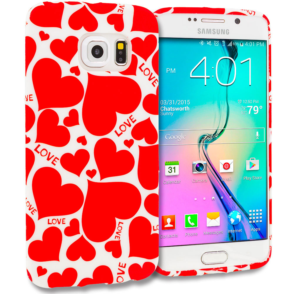 Samsung Galaxy S6 Edge Hearts w Different Shapes TPU Design Soft Rubber Case Cover