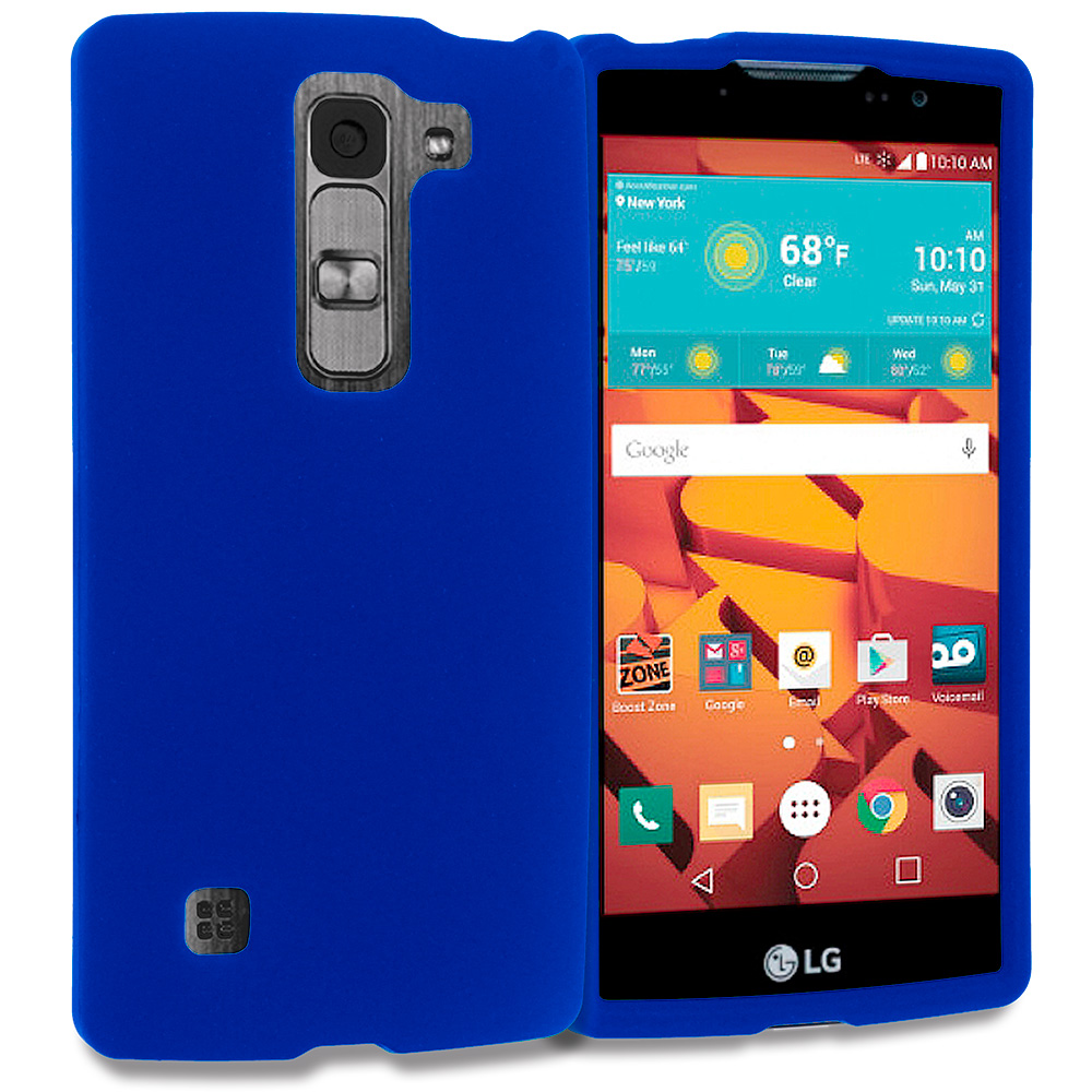 LG Volt 2 LS751 Blue Hard Rubberized Case Cover