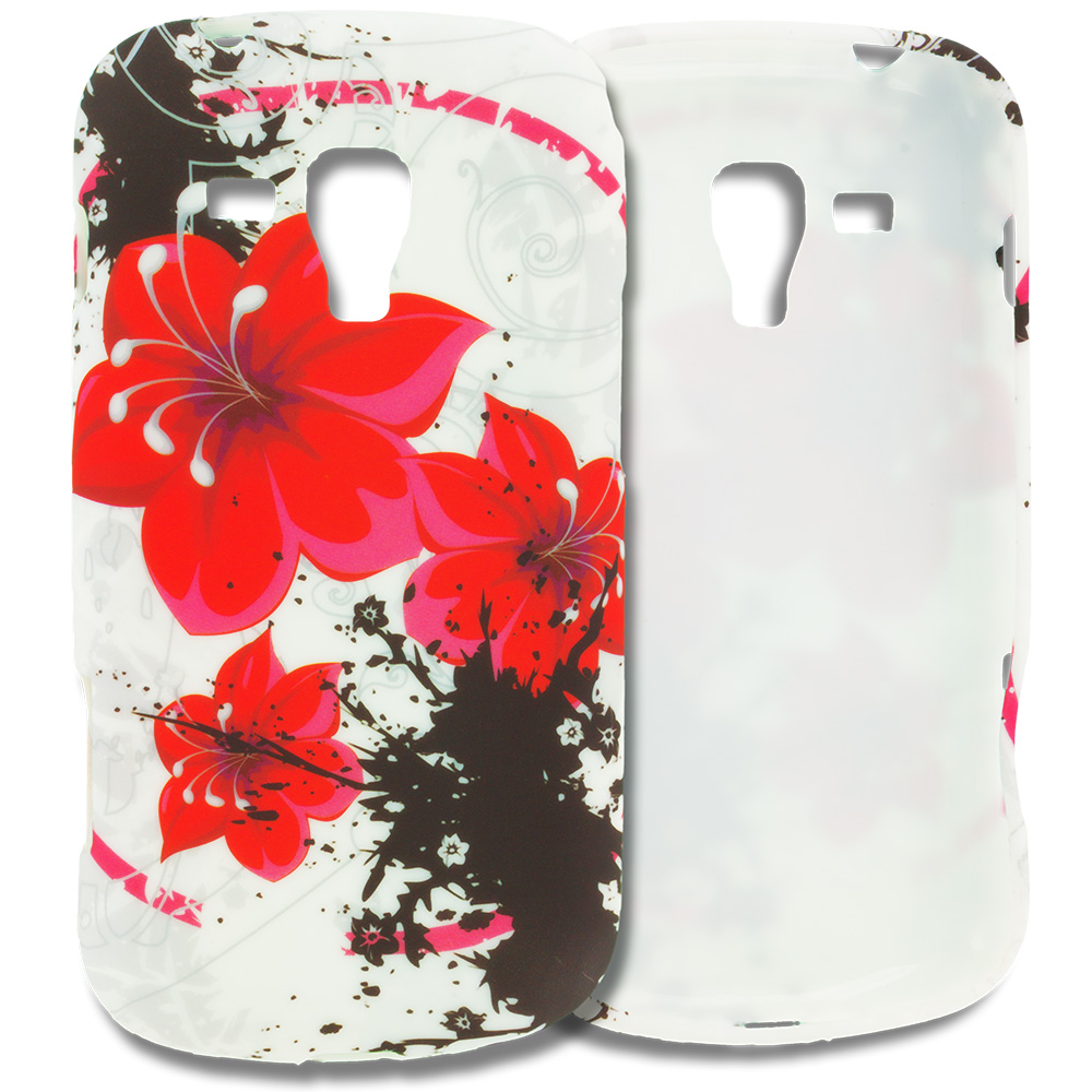 Samsung Galaxy S Duos Red Flower TPU Design Soft Rubber Case Cover