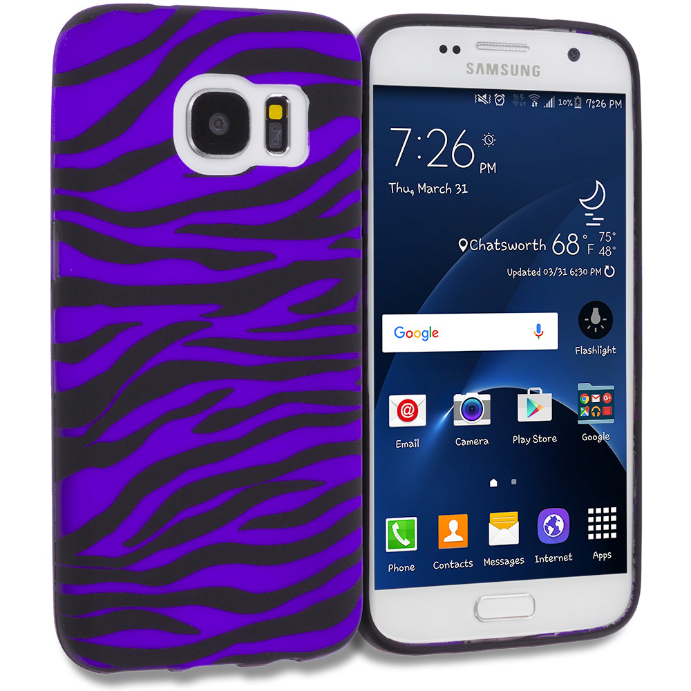 Samsung Galaxy S7 Combo Pack : Black / Hot Pink Zebra TPU Design Soft Rubber Case Cover : Color Black / Purple Zebra