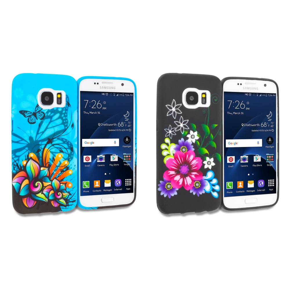 Samsung Galaxy S7 Combo Pack : Butterfly Flower on Blue TPU Design Soft Rubber Case Cover