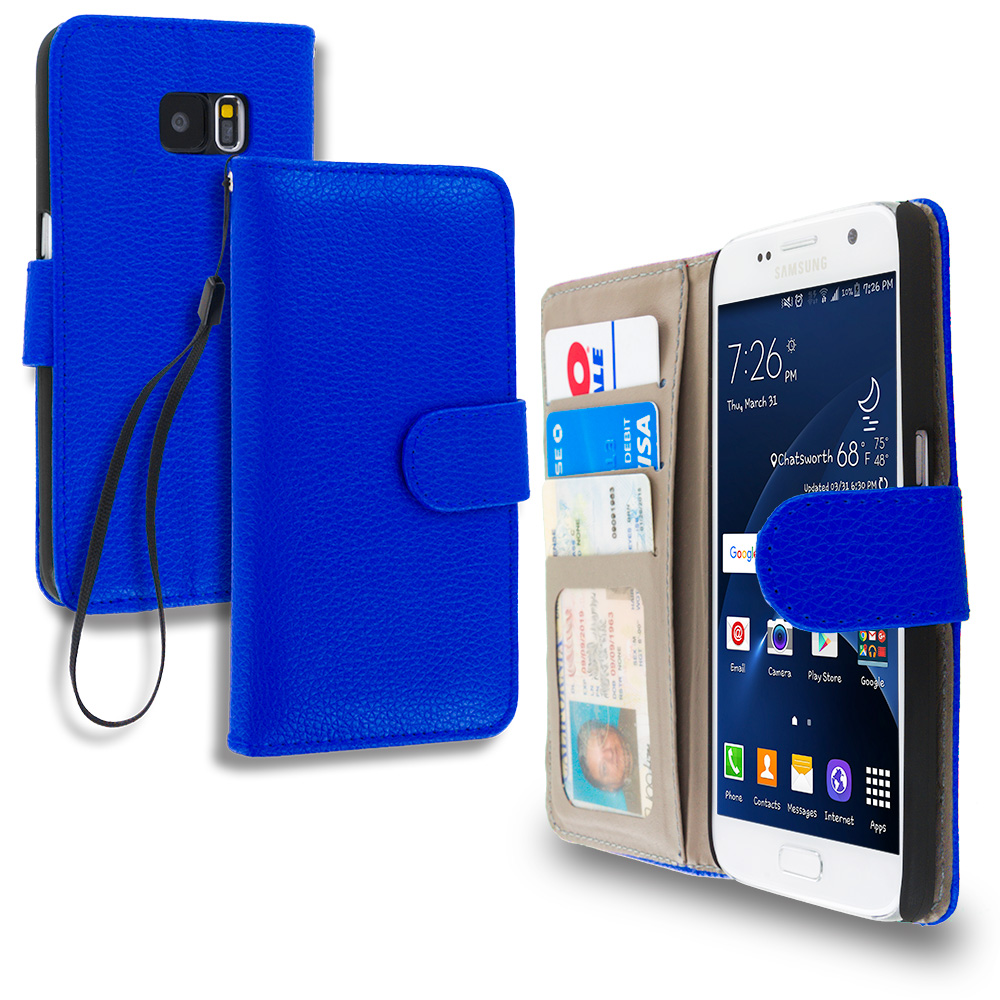 Samsung Galaxy S7 Combo Pack : Black Leather Wallet Pouch Case Cover with Slots : Color Blue