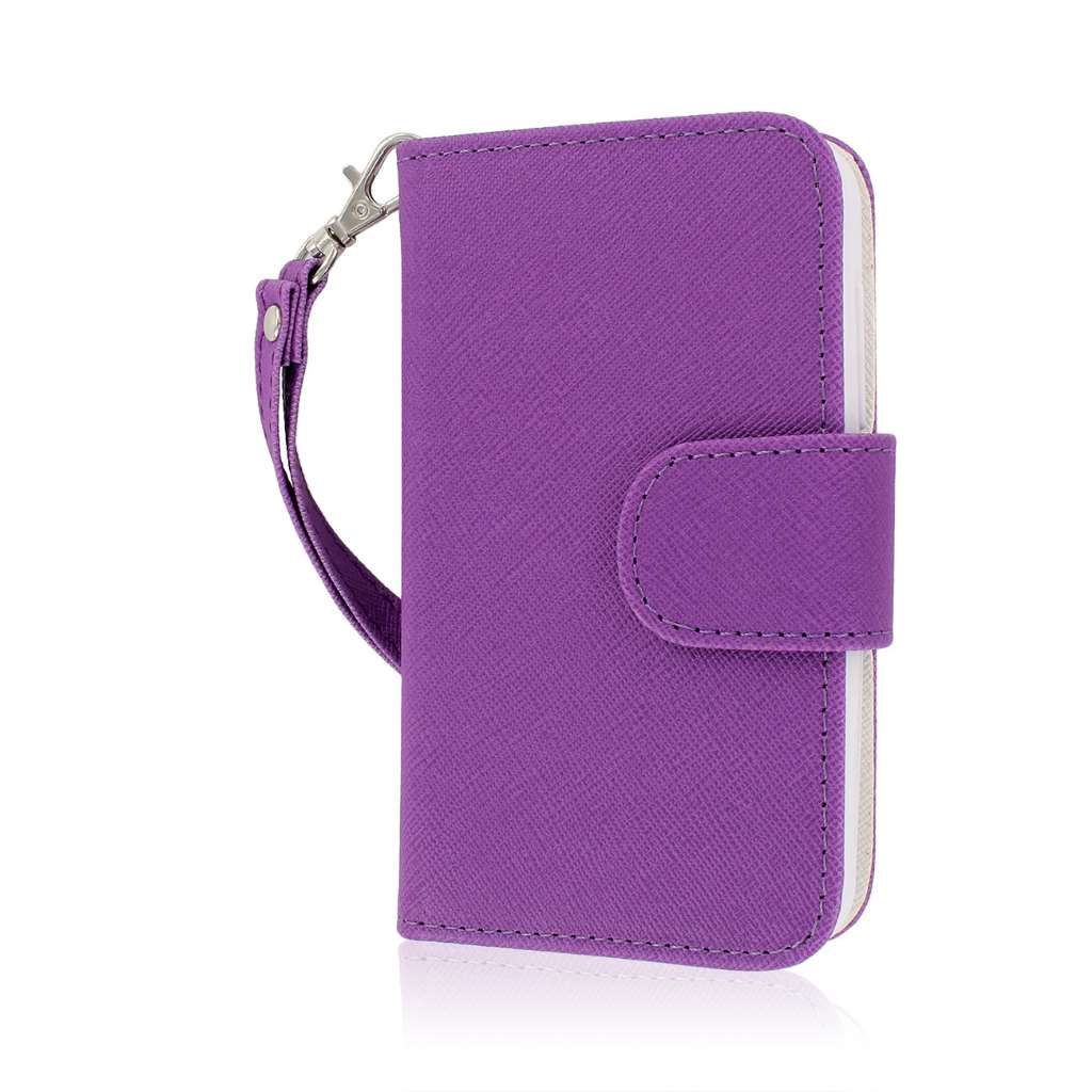 Alcatel OneTouch Evolve - Purple/ White MPERO FLEX FLIP Wallet Case Cover