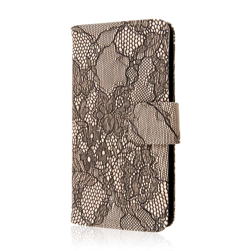 Sony Xperia Z3v - Black Lace MPERO FLEX FLIP Wallet Case Cover