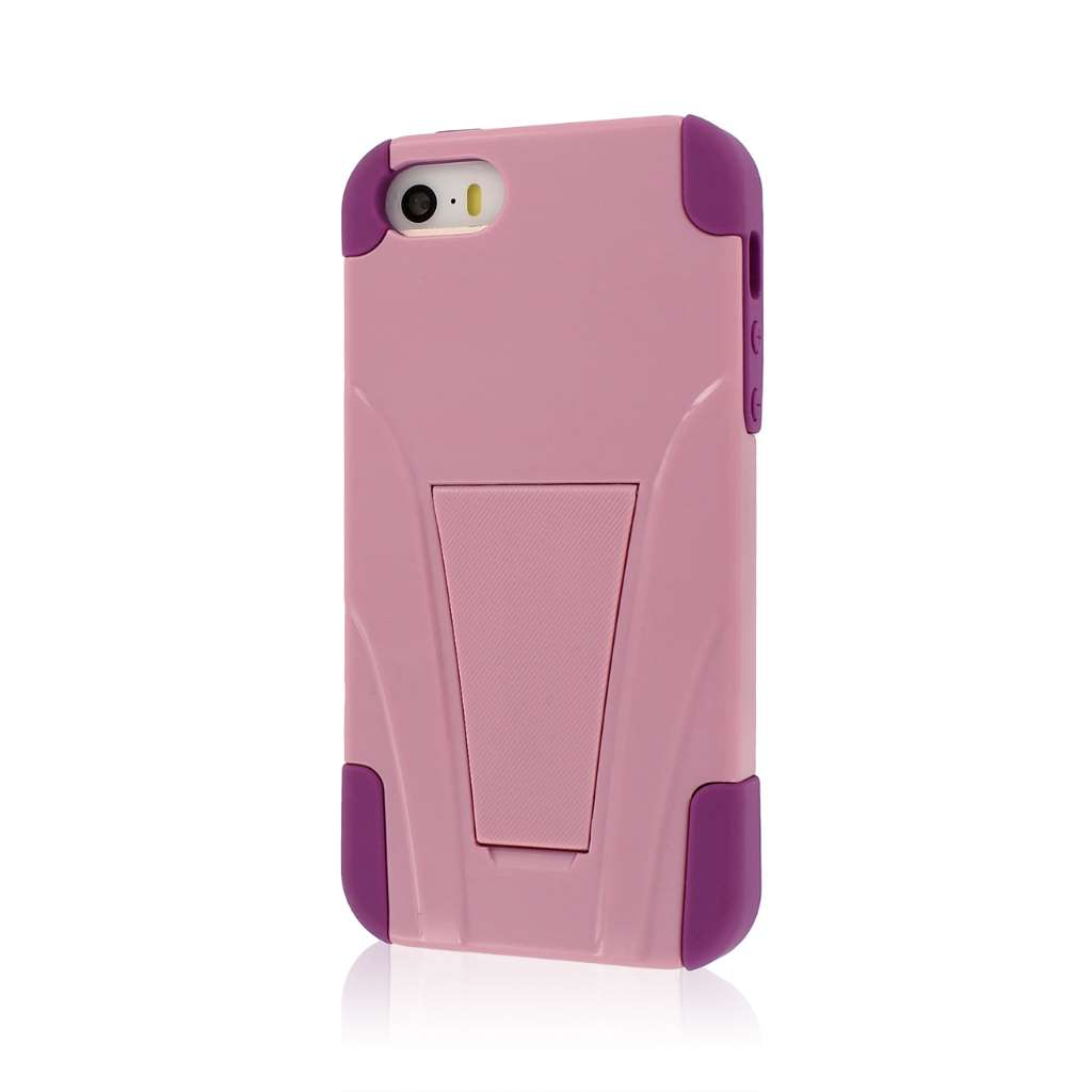 Apple iPhone 5/5S/SE - Pink Combo Pack : MPERO IMPACT X - Kickstand Case Cover : Color Pink