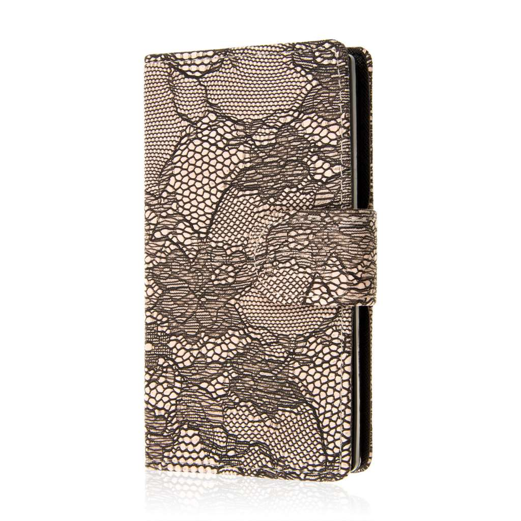 Sharp AQUOS Crystal - Black Lace MPERO FLEX FLIP Wallet Case Cover