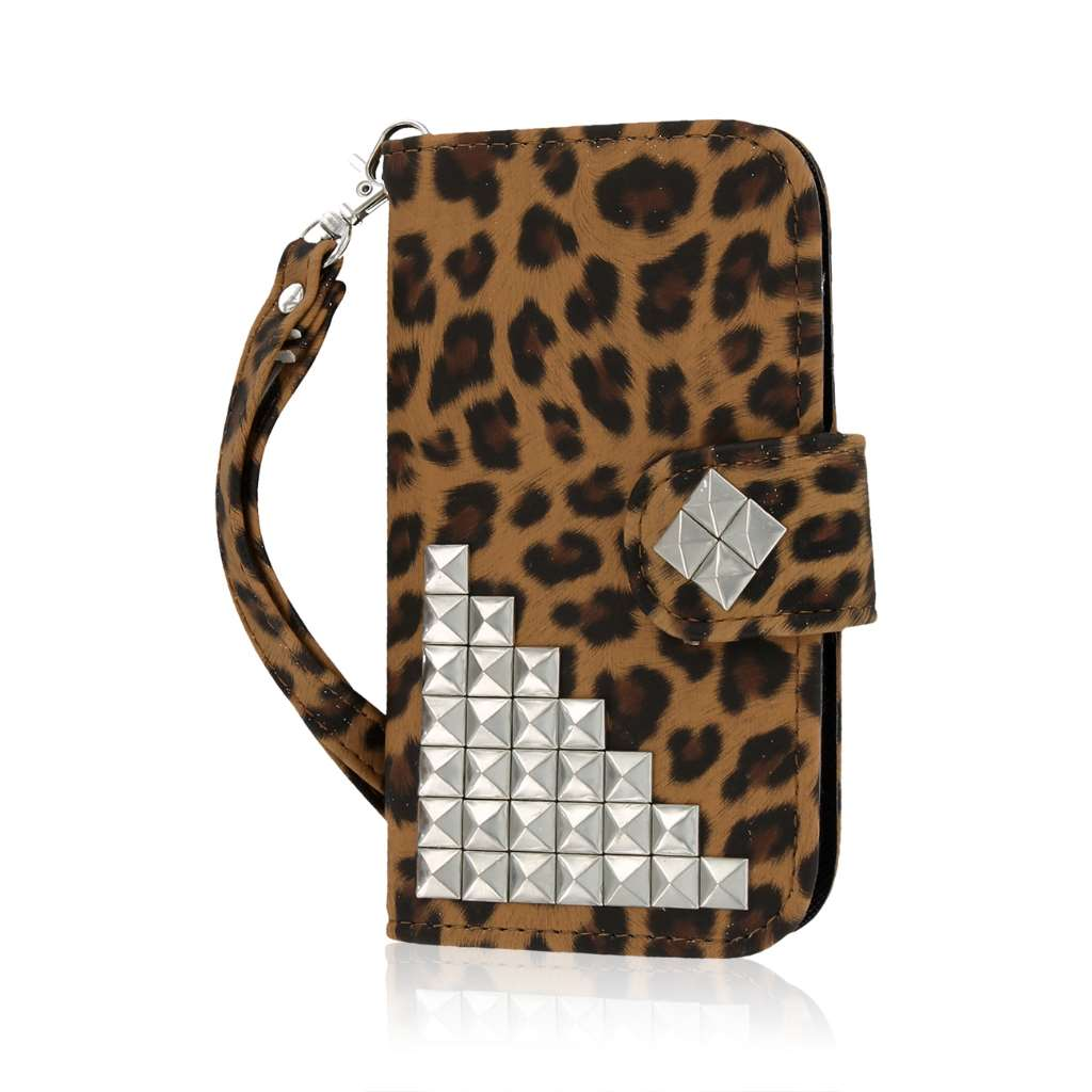 HTC One SV - Studded Leopard MPERO FLEX FLIP Wallet Case Cover