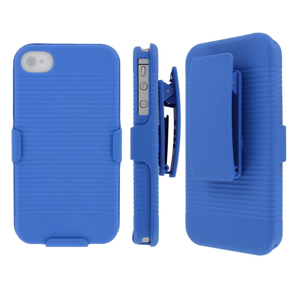 Apple iPhone 4/ 4S - Blue MPERO 3 in 1 Tough Kickstand Case Cover