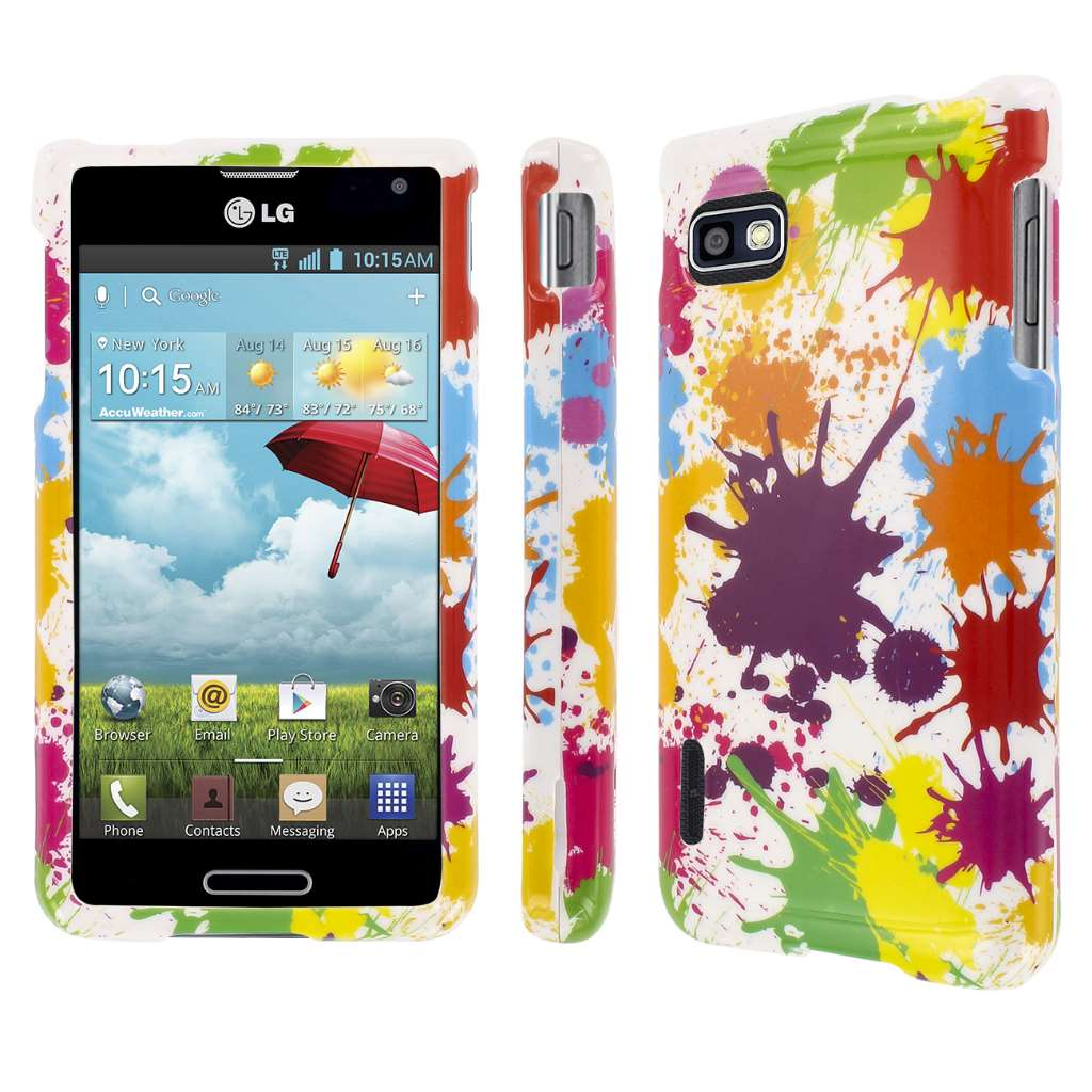 LG Optimus F3 MPERO Full Protection Paint Splatter White Case Cover