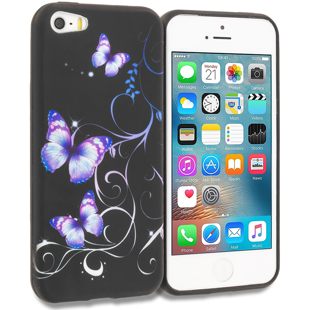 Apple iPhone 5 Combo Pack : Black Purple Butterfly TPU Design Soft Rubber Case Cover : Color Black Purple Butterfly