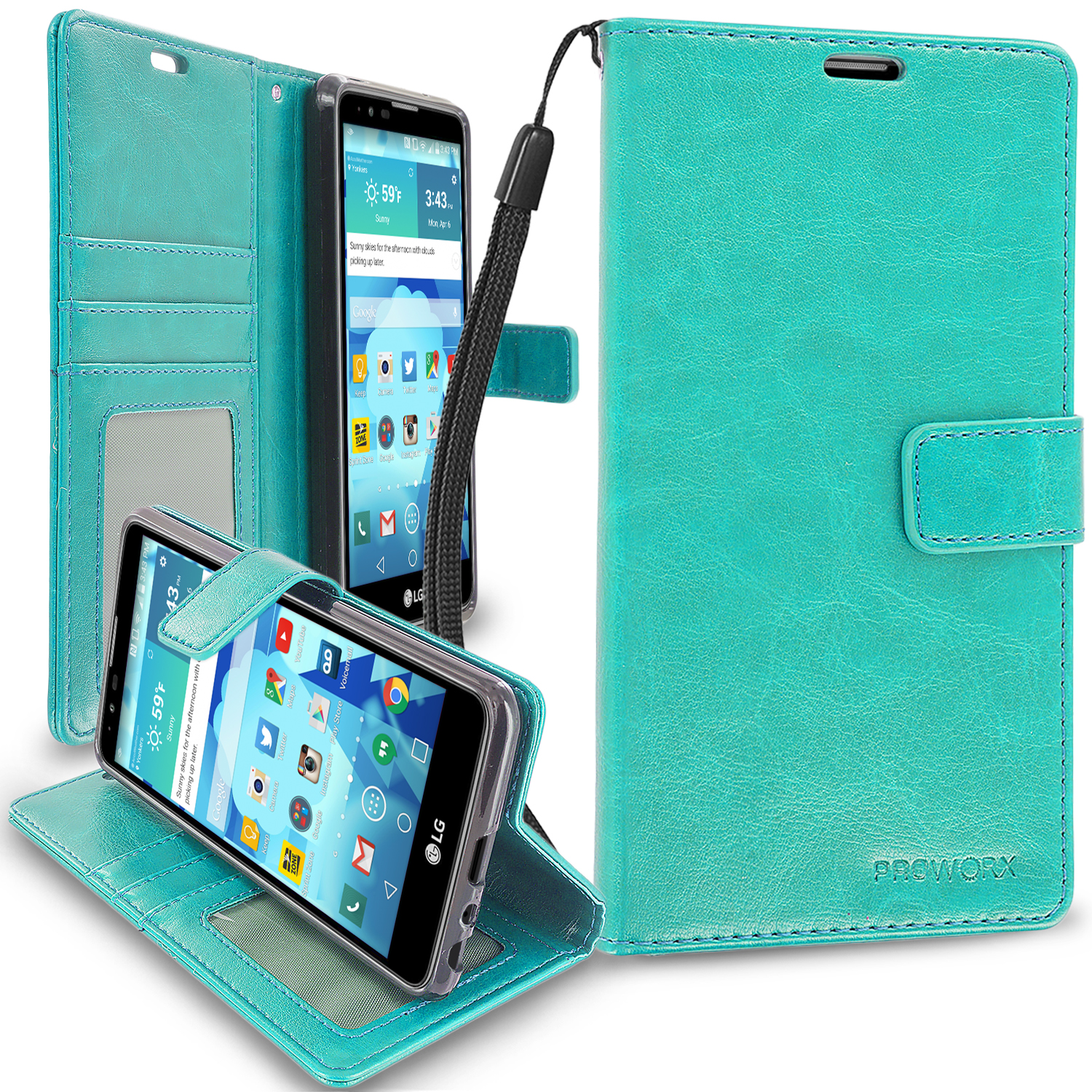 LG Stylo 2 LS775 Mint Green ProWorx Wallet Case Luxury PU Leather Case Cover With Card Slots & Stand
