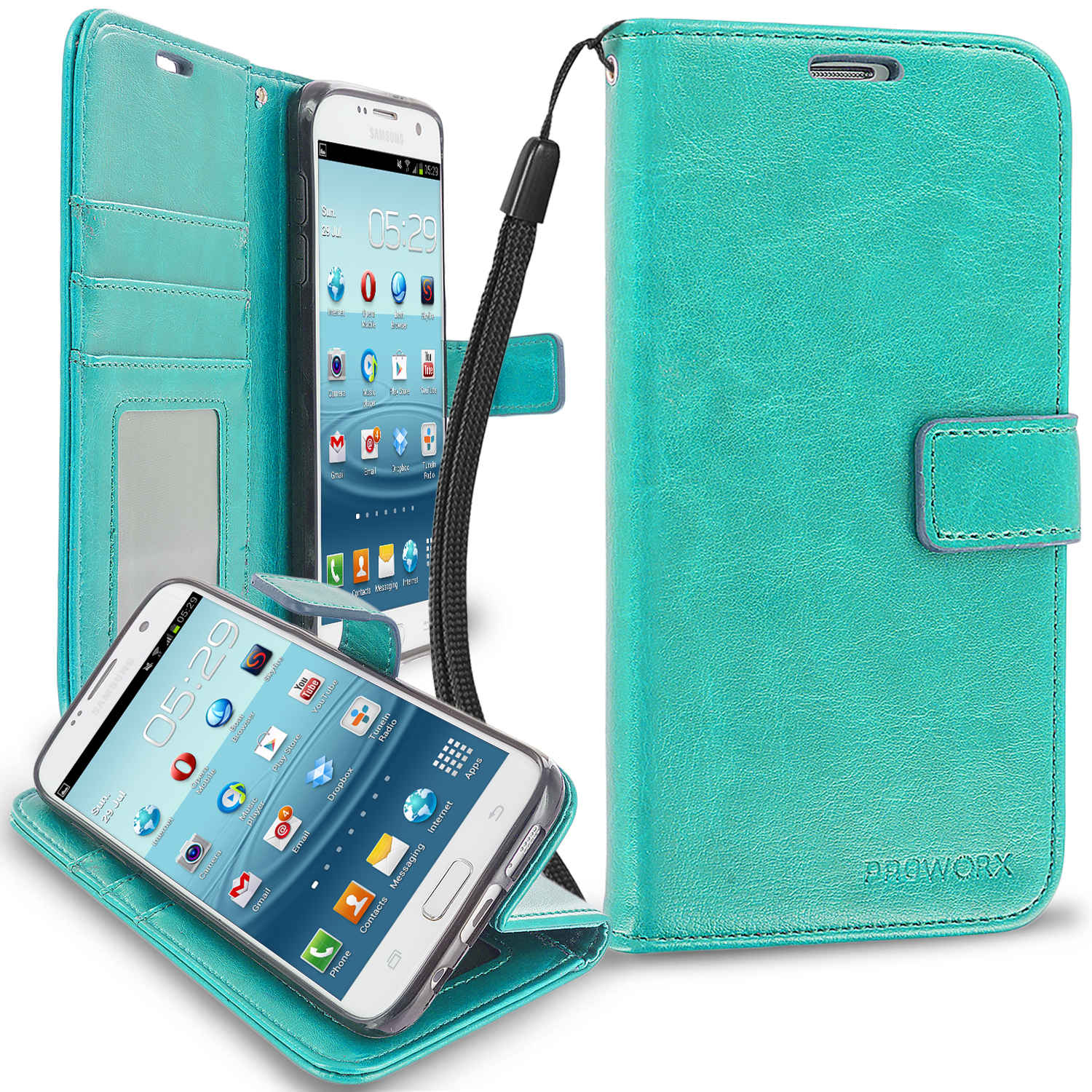 Samsung Galaxy S7 Edge Mint Green ProWorx Wallet Case Luxury PU Leather Case Cover With Card Slots & Stand