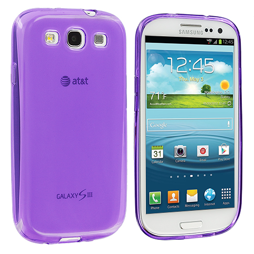 Samsung Galaxy S3 Purple Plain TPU Rubber Skin Case Cover