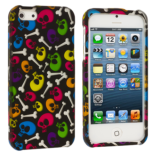 Apple iPhone 5/5S/SE 2 in 1 Combo Bundle Pack - Colorful Skull Pink Hard Rubberized Design Case Cover : Color Colorful Skull