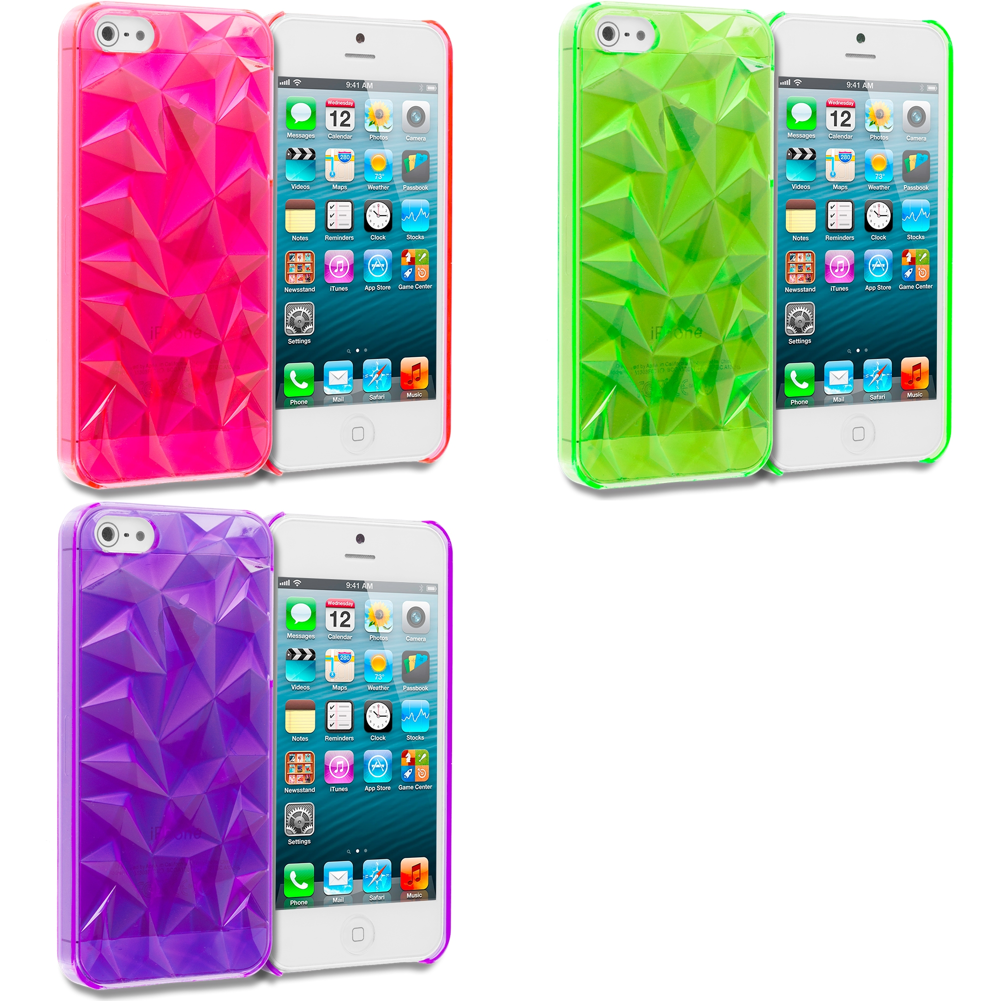 Apple iPhone 5/5S/SE Combo Pack : Hot Pink Diamond Crystal Hard Back Cover Case
