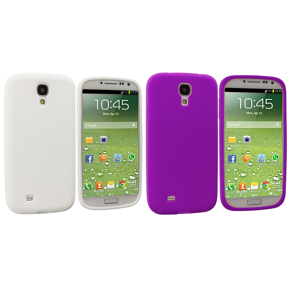 Samsung Galaxy S4 2 in 1 Combo Bundle Pack - White Purple Silicone Soft Skin Case Cover