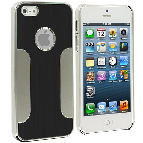 Apple iPhone 5/5S/SE Combo Pack : Black Brushed Metal Aluminum Metal Hard Case Cover : Color Black Brushed Metal