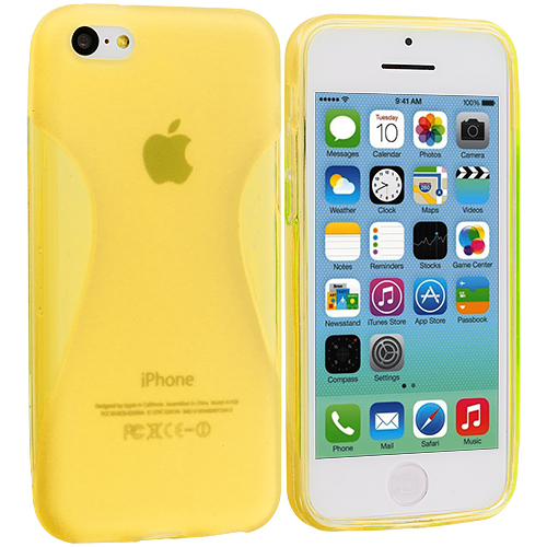 Apple iPhone 5C 2 in 1 Combo Bundle Pack - Neon Green Yellow Slim TPU Rubber Skin Case Cover : Color Yellow Slim