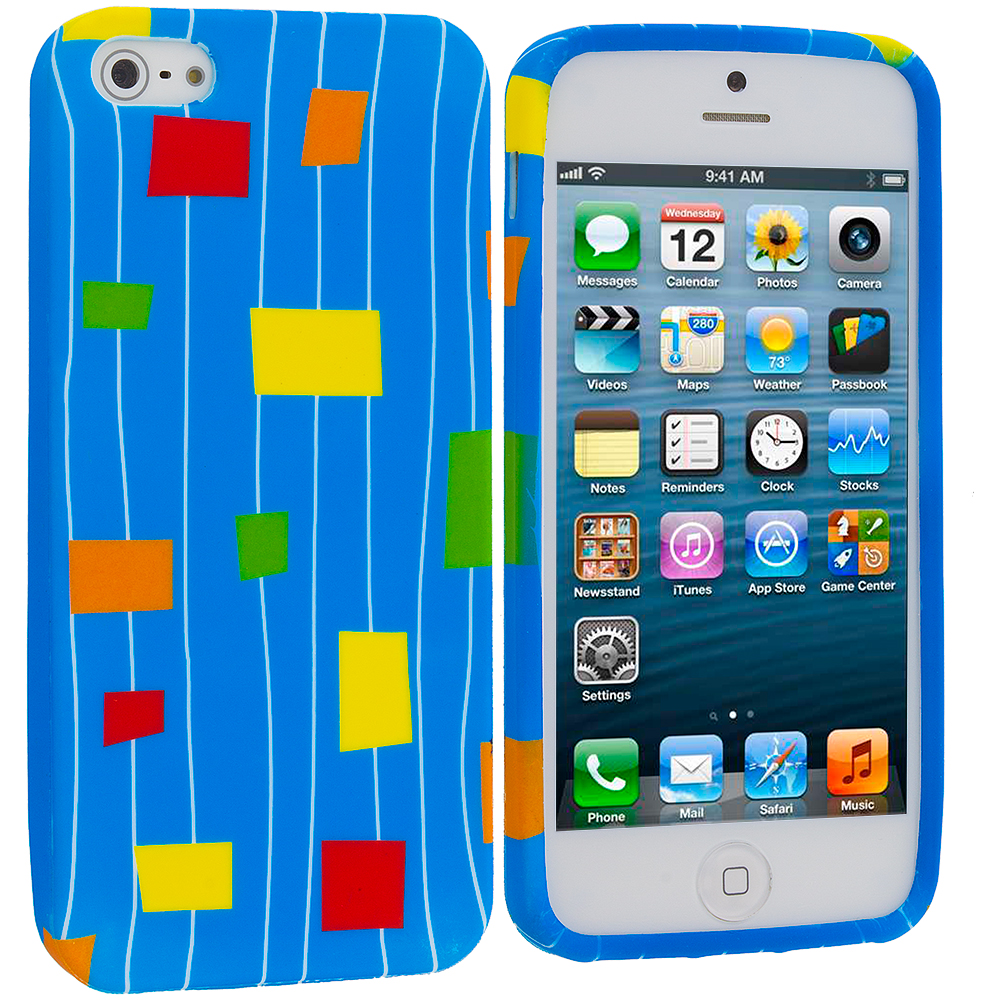 Apple iPhone 5/5S/SE Combo Pack : Baby Blue Square TPU Design Soft Case Cover : Color Baby Blue Square
