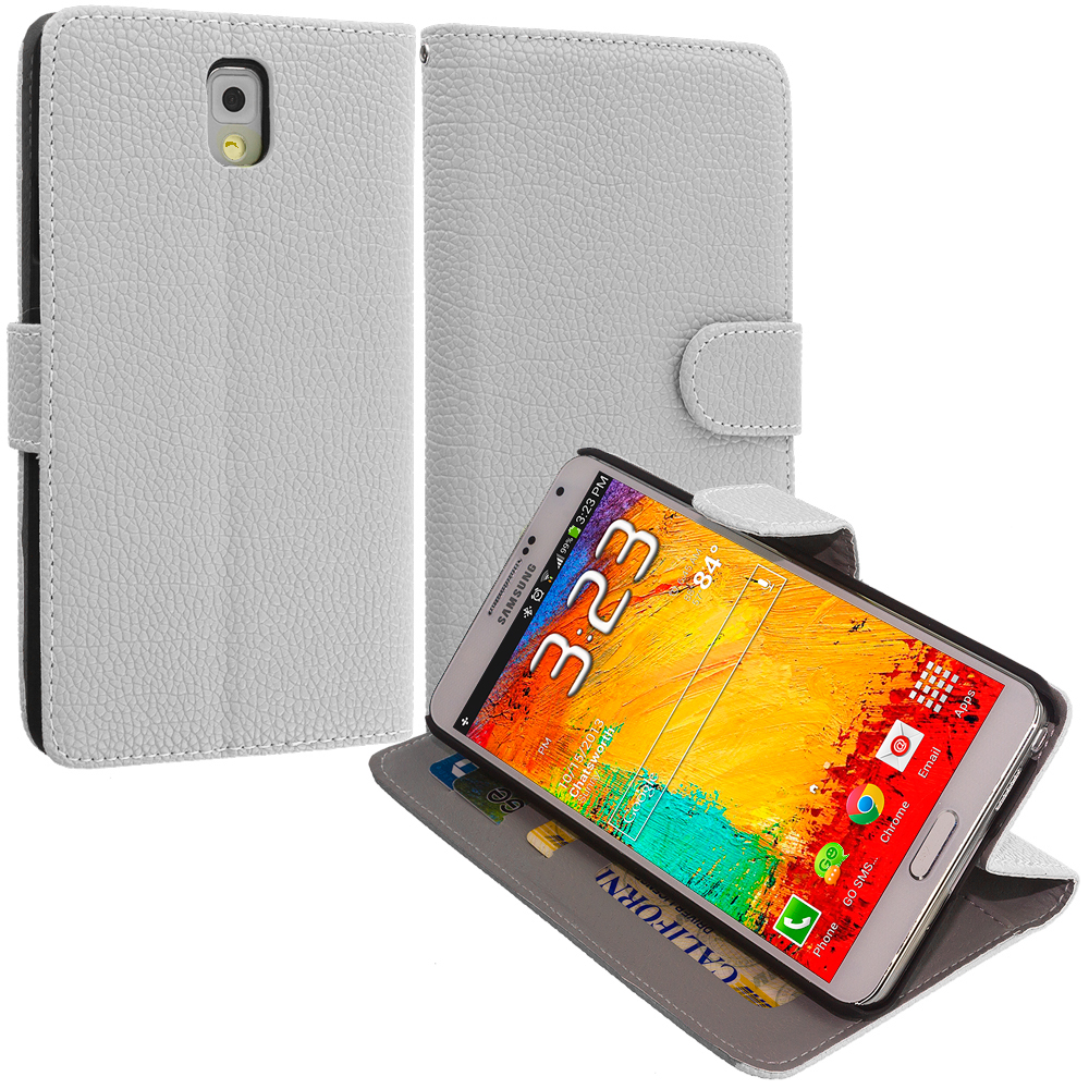 Samsung Galaxy Note 3 N9000 White Leather Wallet Pouch Case Cover with Slots