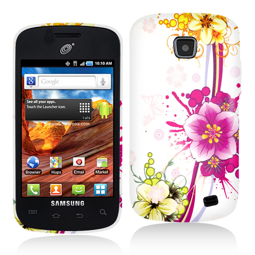 Samsung Proclaim S720C Purple Flower Chain Hard Rubberized Design Case Cover
