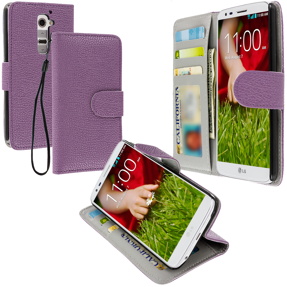 LG G2 Sprint, T-Mobile, At&t Purple Leather Wallet Pouch Case Cover with Slots