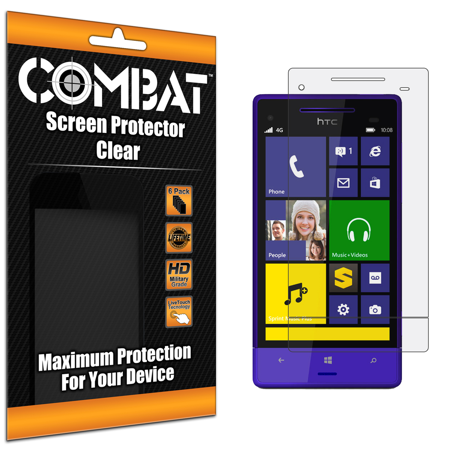 HTC 8XT Combat 6 Pack HD Clear Screen Protector