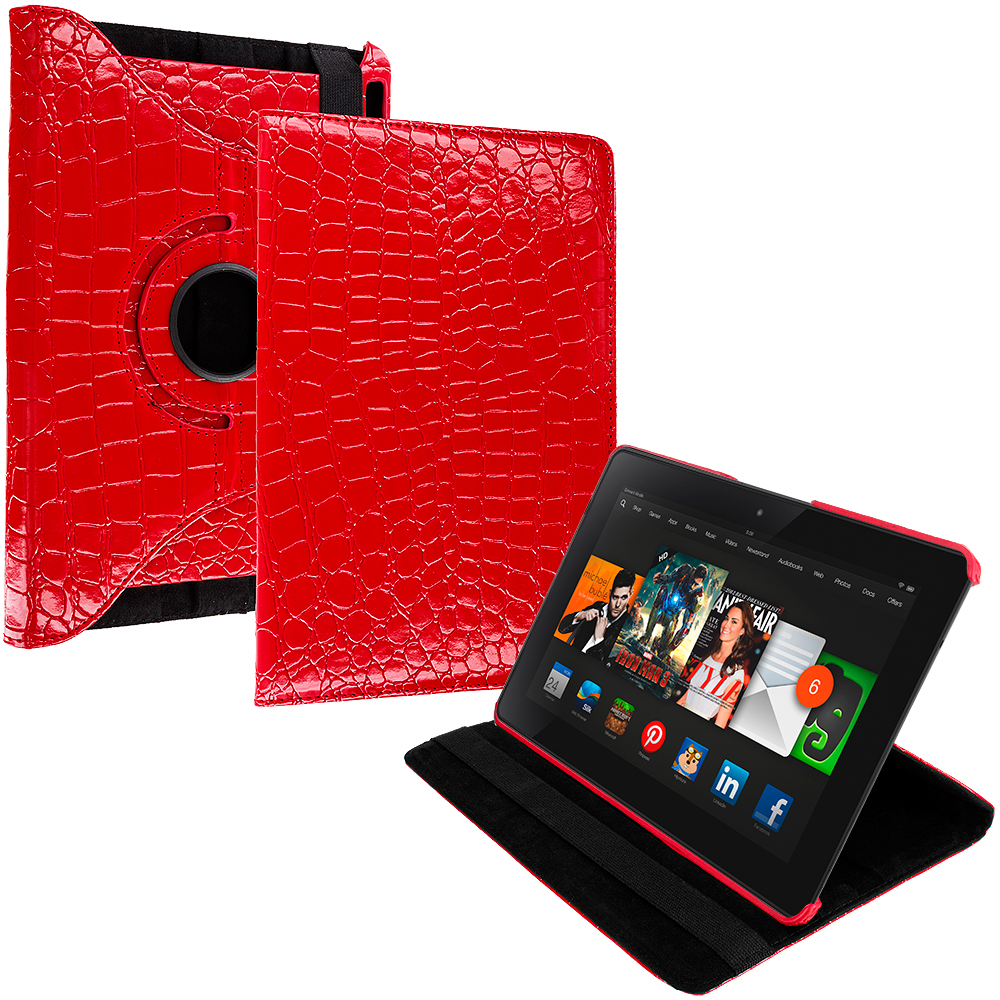 Amazon Kindle Fire HDX 8.9 Red Crocodile 360 Rotating Leather Pouch Case Cover Stand