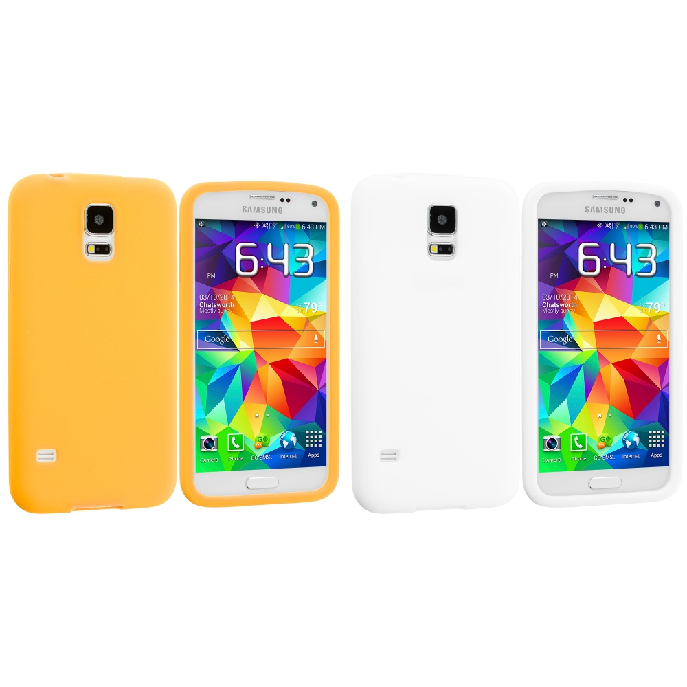 Samsung Galaxy S5 2 in 1 Combo Bundle Pack - White Yellow Silicone Soft Skin Case Cover