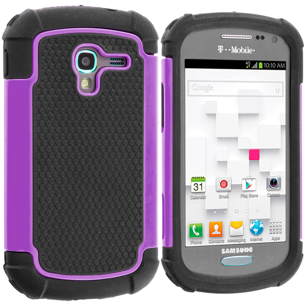 Samsung Galaxy Exhibit T599 Black / Purple Hybrid Rugged Hard/Soft Case Cover