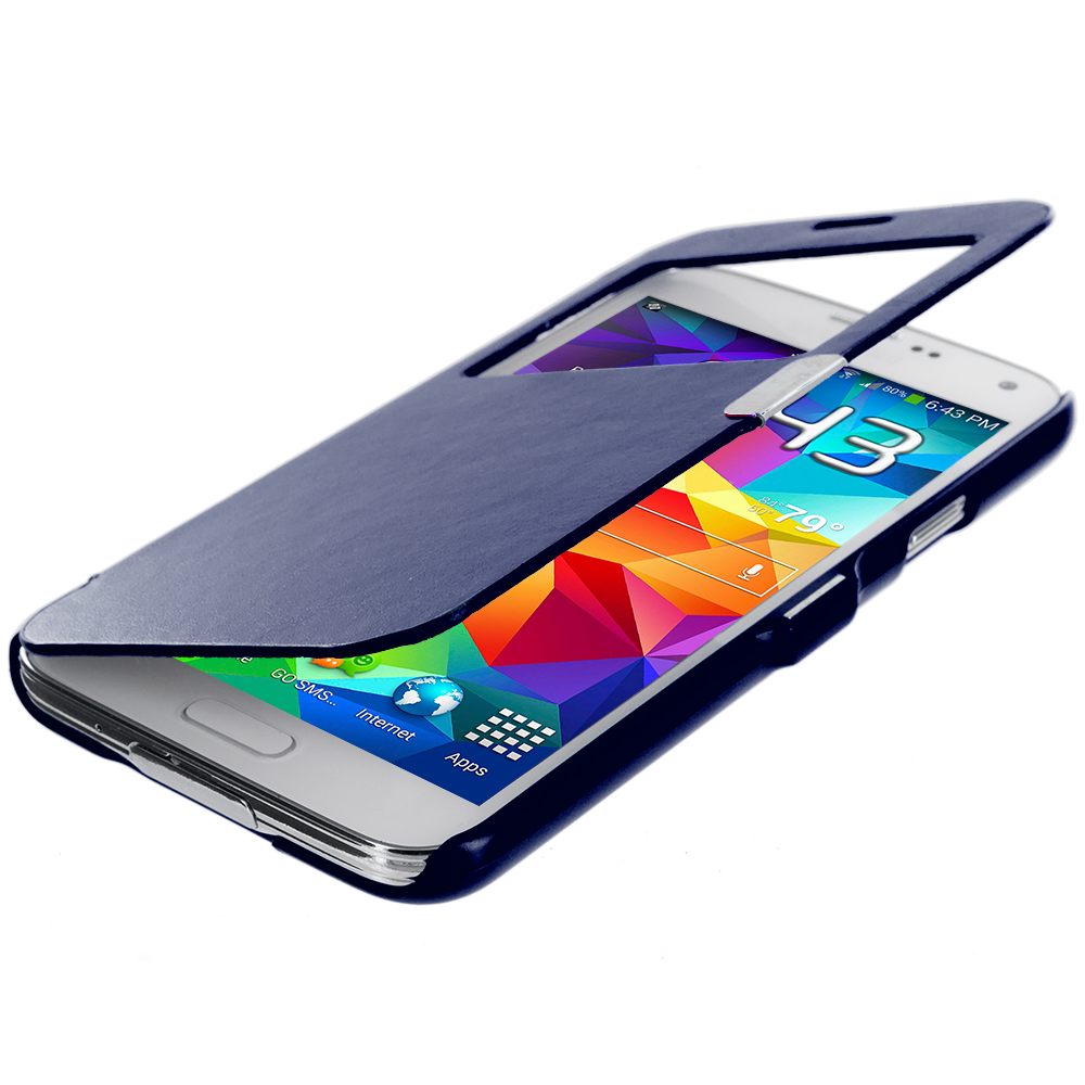 Samsung Galaxy S5 Blue (Open Front) Magnetic Wallet Case Cover Pouch