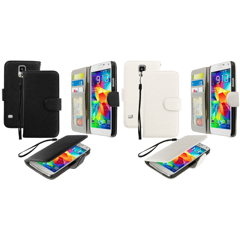 Samsung Galaxy S5 2 in 1 Combo Bundle Pack - Black White Leather Wallet Pouch Case Cover with Slots