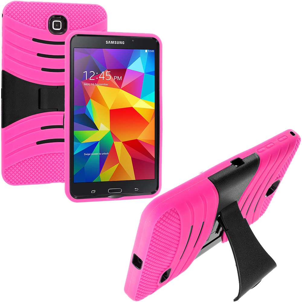 Samsung Galaxy Tab 4 8.0 Hot Pink / Black Hybrid Hard/Silicone Case Cover with Stand