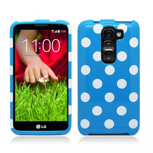 LG G2 Mini D620 Blue White Polka Dot Design Crystal Hard Case Cover