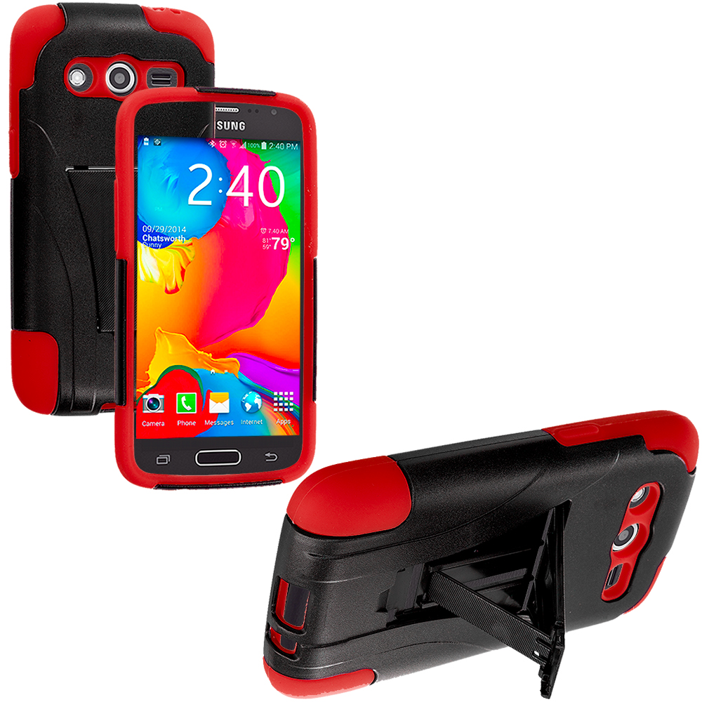 Samsung Galaxy Avant G386 Black / Red Hybrid Hard Soft Shockproof Case Cover with Kickstand