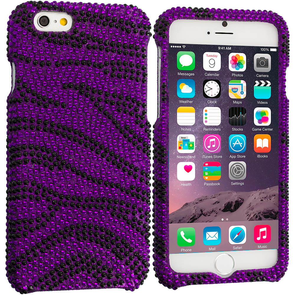 Apple iPhone 6 6S (4.7) Purple Zebra Bling Rhinestone Case Cover