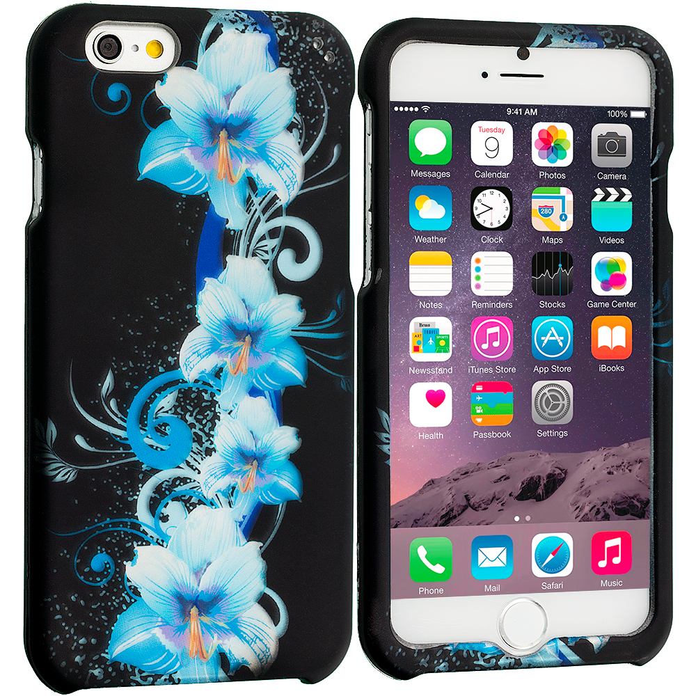 Apple iPhone 6 Plus 6S Plus (5.5) Blue Flowers 2D Hard Rubberized Design Case Cover