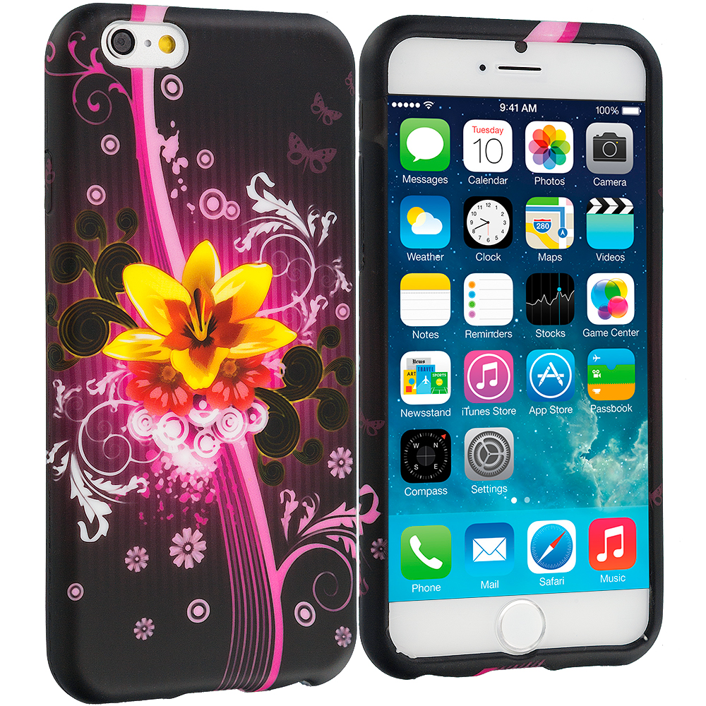 Apple iPhone 6 Plus 6S Plus (5.5) Pink Flower Explosion TPU Design Soft Rubber Case Cover