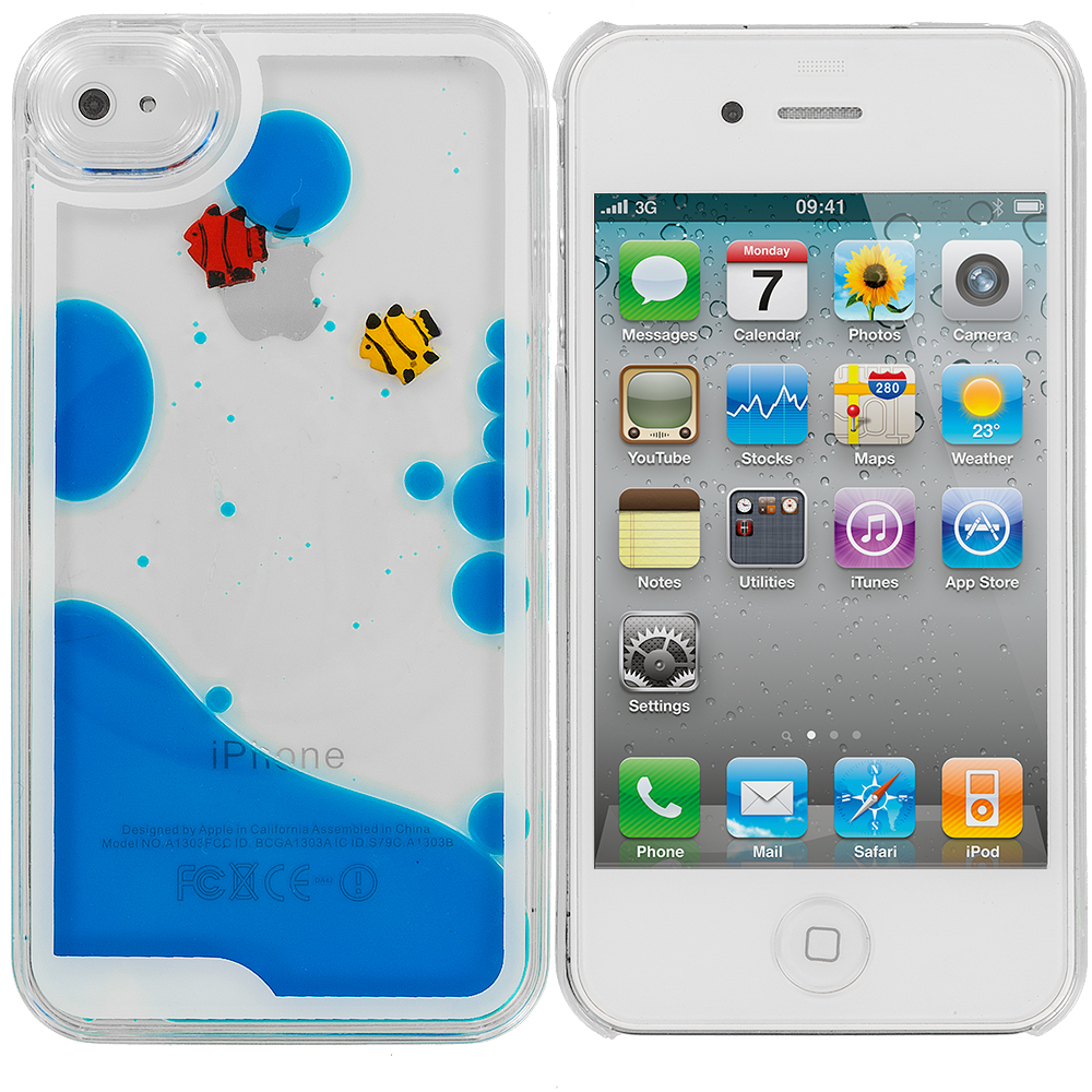 Apple iPhone 4 / 4S Blue Fish Tank 3D Liquid Hard Case Cover