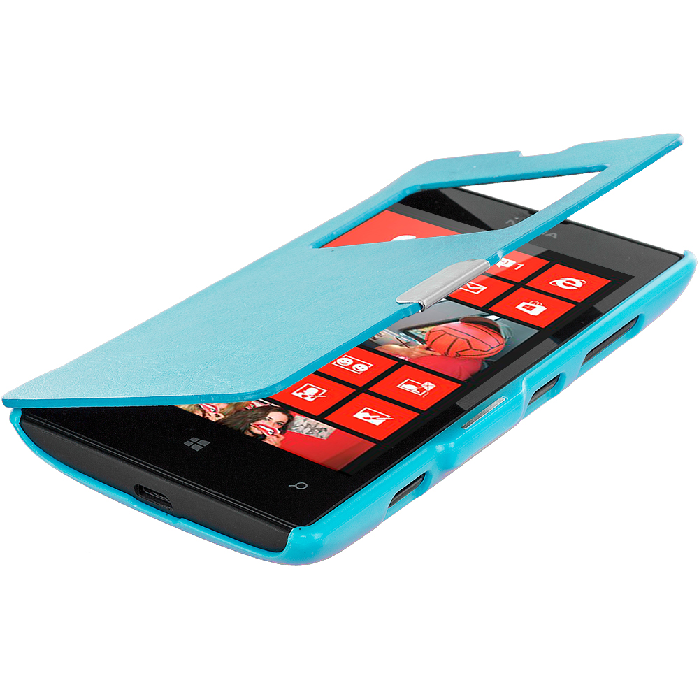 Nokia Lumia 520 Baby Blue (Open) Magnetic Flip Wallet Case Cover Pouch
