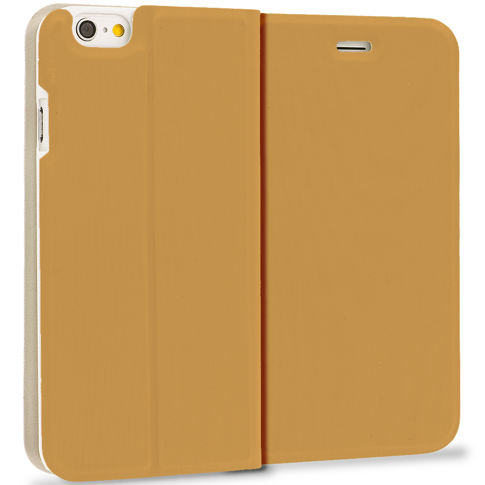 Apple iPhone 6 Plus 6S Plus (5.5) Gold Slim Flip Wallet Case Cover
