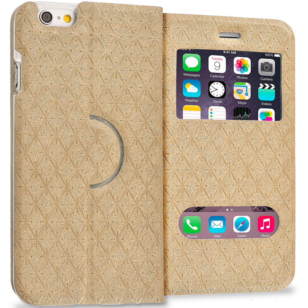 Apple iPhone 6 6S (4.7) 4 in 1 Combo Bundle Pack - Slim Hard Wallet Flip Case Cover With Double Window : Color Gold