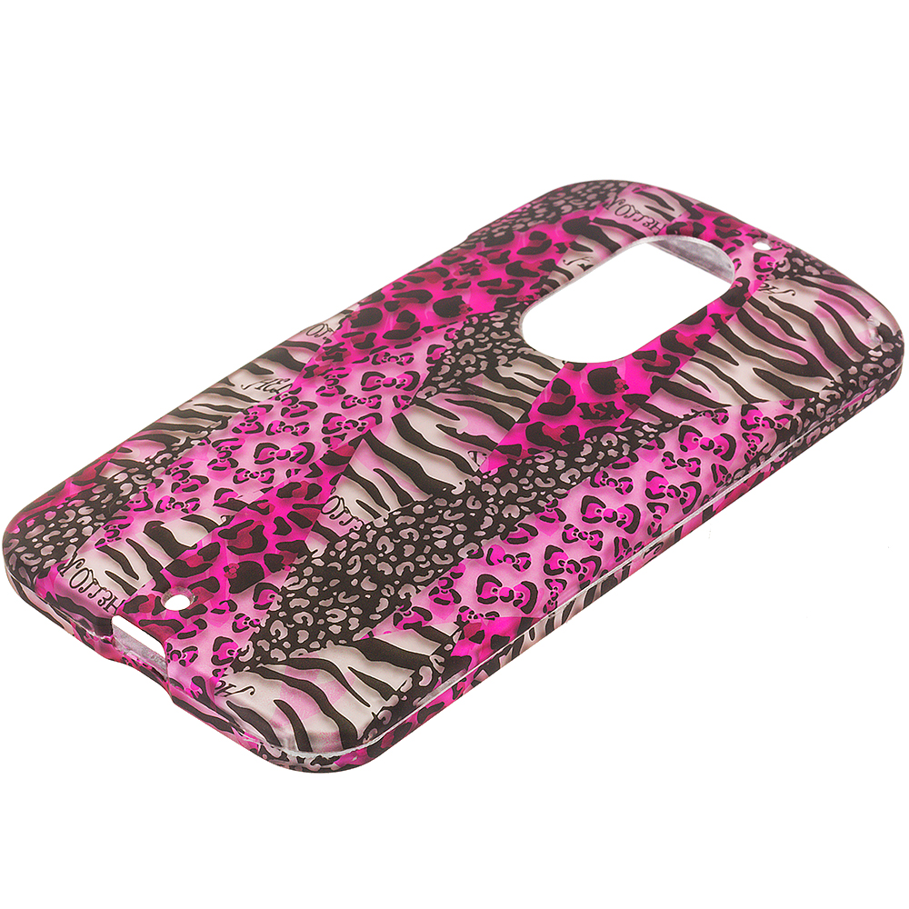 Motorola Moto X 2nd Gen Bowknot Zebra 2D Hard Rubberized Design Case Cover