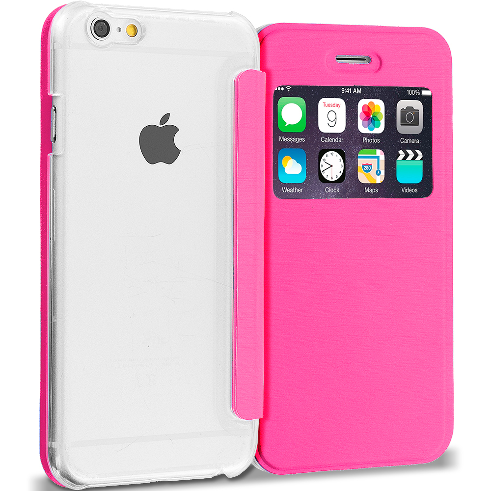 Apple iPhone 6 6S (4.7) Hot Pink Slim Hard Wallet Flip Case Cover Clear Back With Window