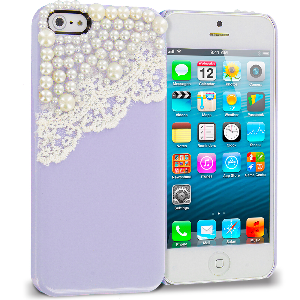 Apple iPhone 5/5S/SE Combo Pack : Pink Pearls Crystal Hard Back Cover Case : Color Purple Pearls