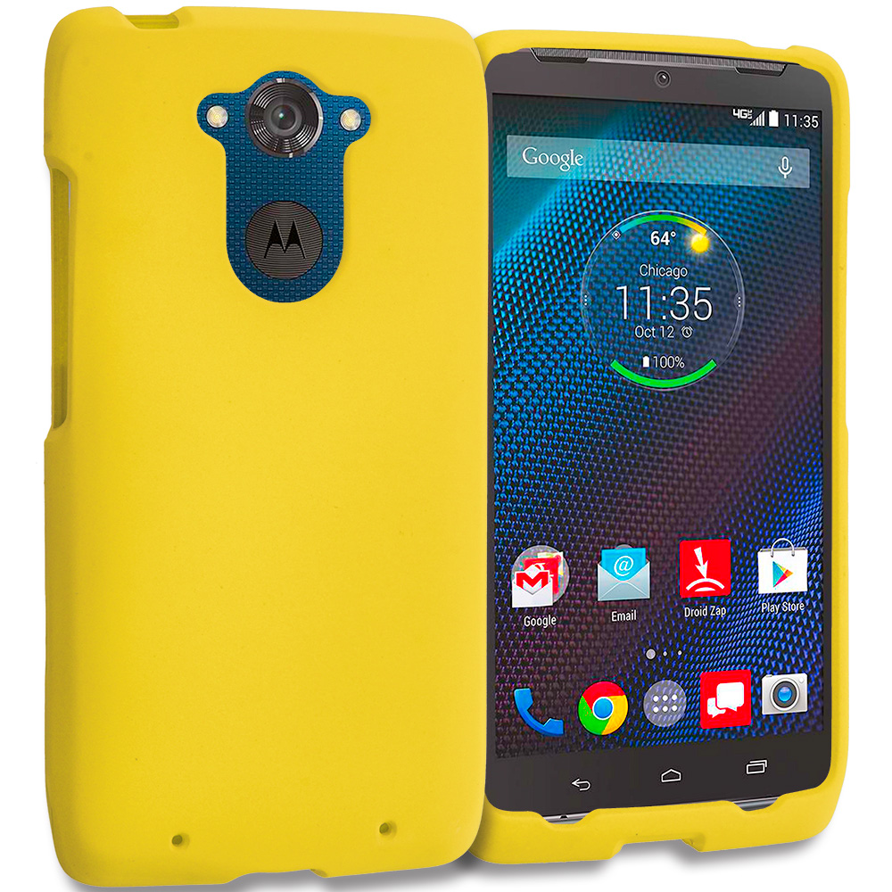 Motorola Droid Turbo Yellow Hard Rubberized Case Cover