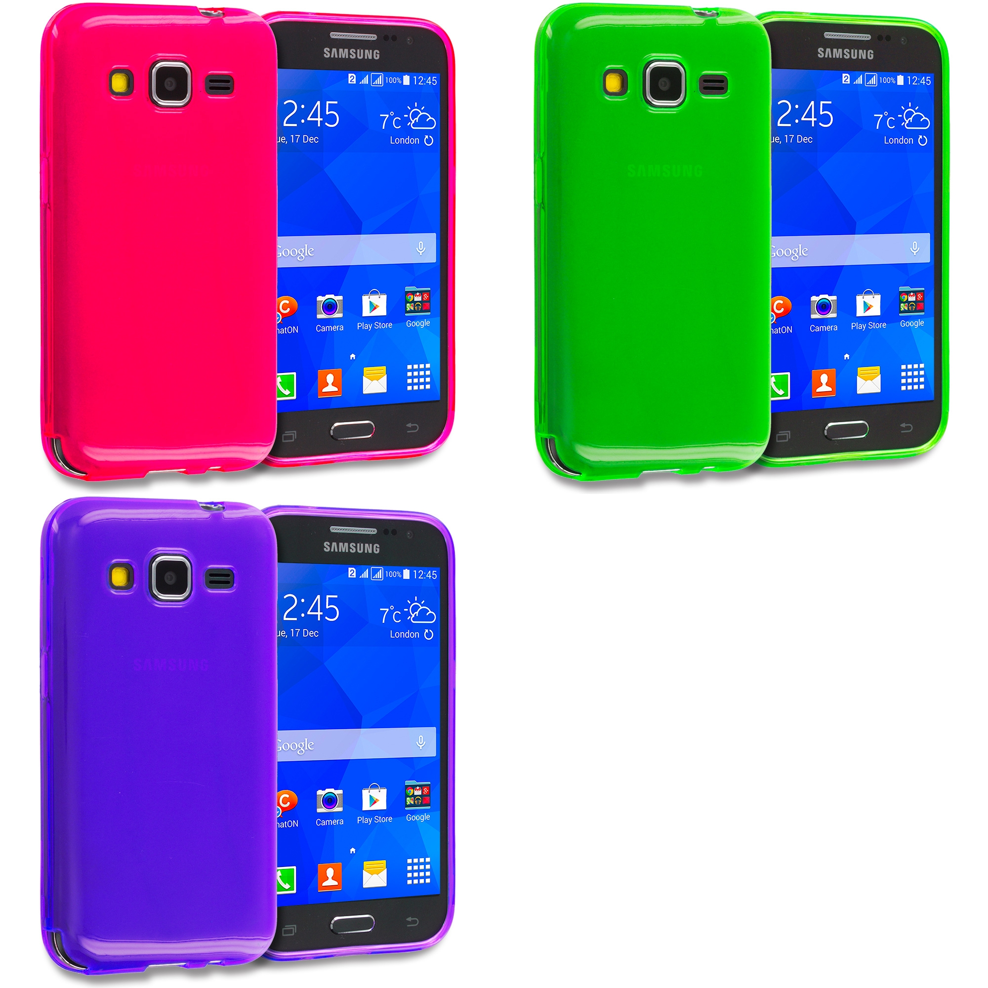 Samsung Galaxy Prevail LTE Core Prime G360P Combo Pack : Hot Pink TPU Rubber Skin Case Cover