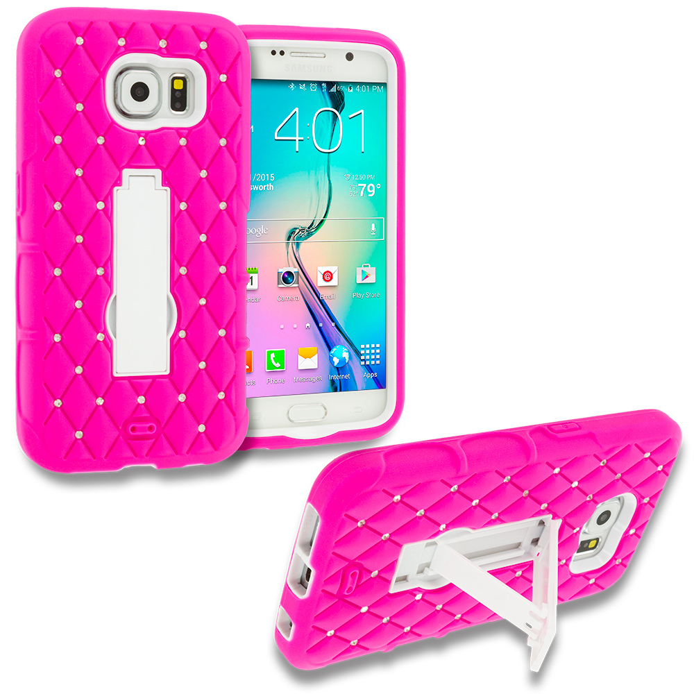 Samsung Galaxy S6 3 in 1 Combo Bundle Pack - Hybrid Diamond Bling Hard Soft Case Cover with Kickstand : Color Hot Pink / White